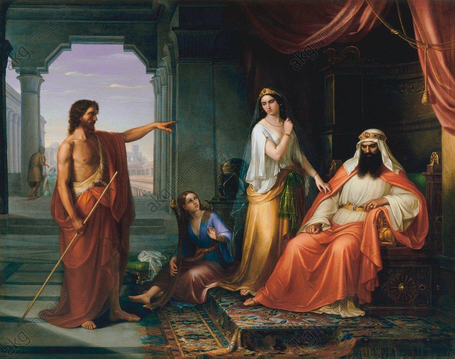 Giov.Fattori, Johannes d.T.vor Herodes - Giov.Fattori / John Baptist bef.Herod - G. Fattori, Sermon de Jean-B. dev.Hérode