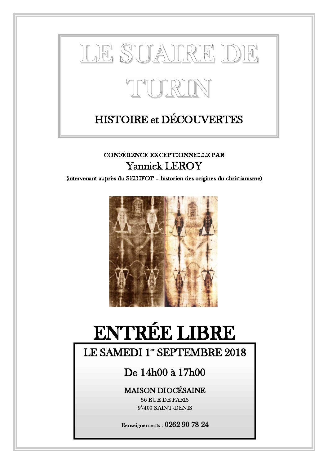 Samedi 1° Septembre à la Maison Diocésaine : le Suaire de Turin