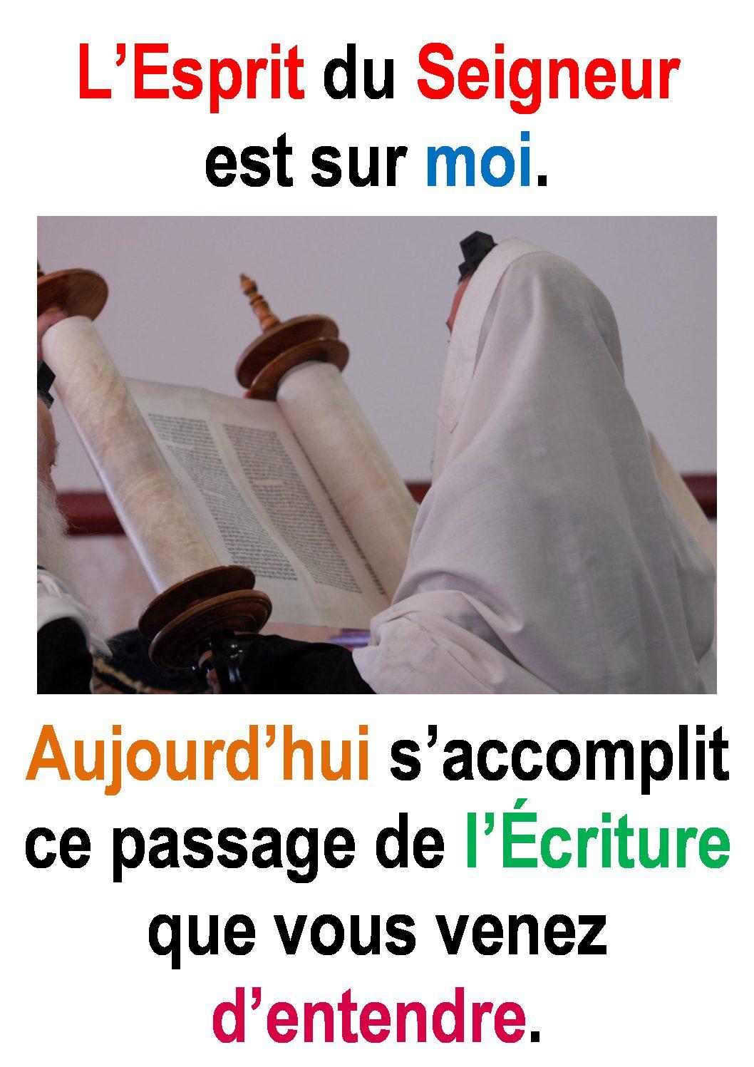 """3ième Dimanche du Temps Ordinaire  (Luc 1,1-4; 4,14-21) : """"L'Esprit du Seigneur est sur moi…""""  (Francis Cousin)"""