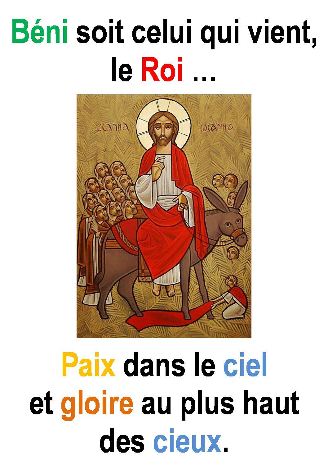 Dimanche des Rameaux et de la Passion ( Luc 19, 28-40) : «Béni soit celui qui vient, le Roi …» (Francis Cousin)