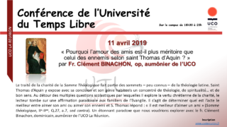 Conférence de l'université du temps libre – par Fr Clément Binachon – 11 avril 2019