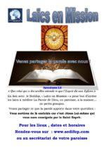 Les différents groupes de partage de la Parole de Dieu avec leurs dates de rencontres